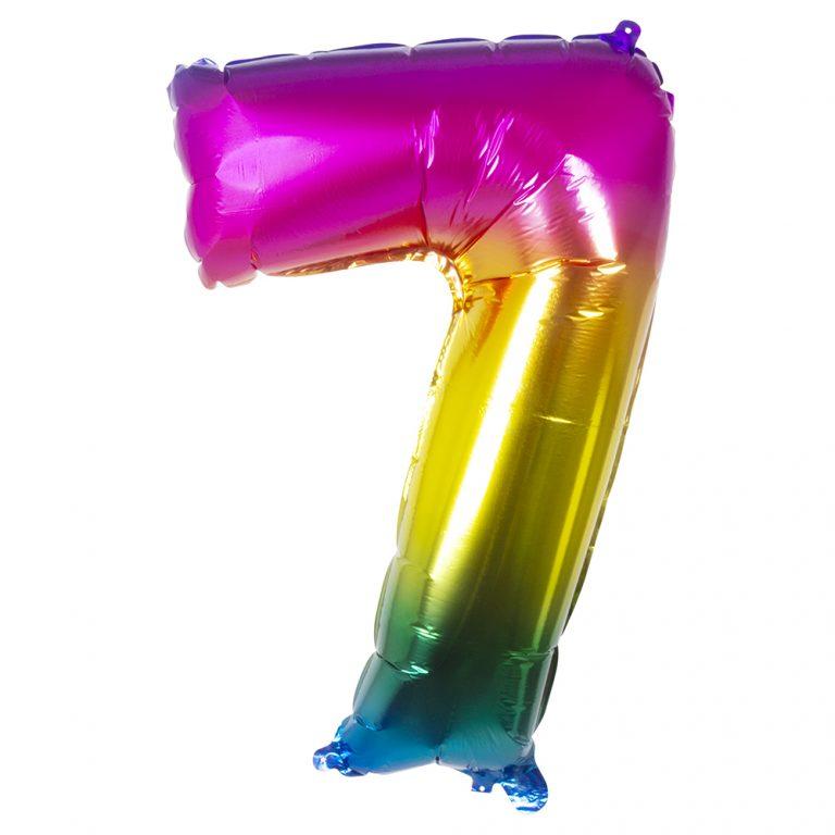 Folie cijfer 7 regenboog 36 cm