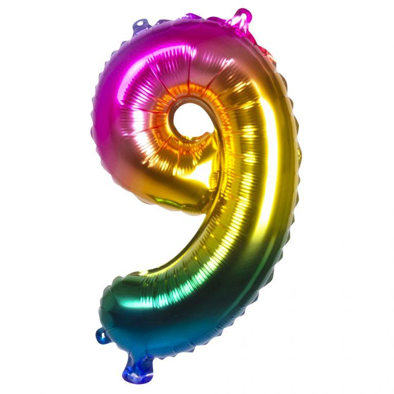 Folie cijfer 9 ballon regenboog 36cm