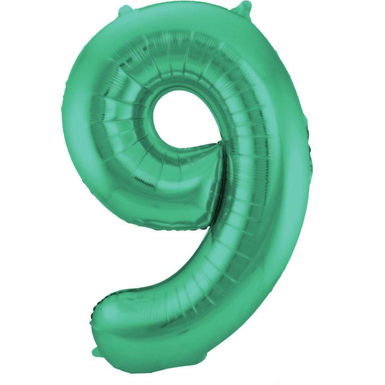 Folie cijfer 9 mat groen 86 cm