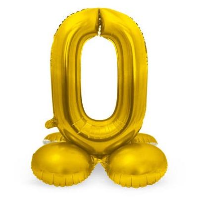 Folieballon 0 met voetje goud
