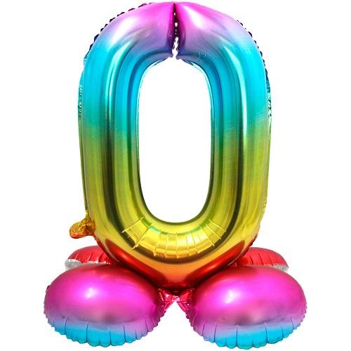 Folieballon 0 met voetje multikleur