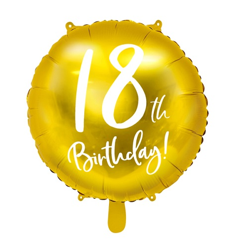 Folieballon 18 jaar goud 45cm