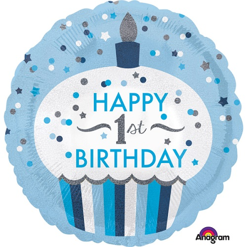 Folieballon 1st birthday cupcake boy