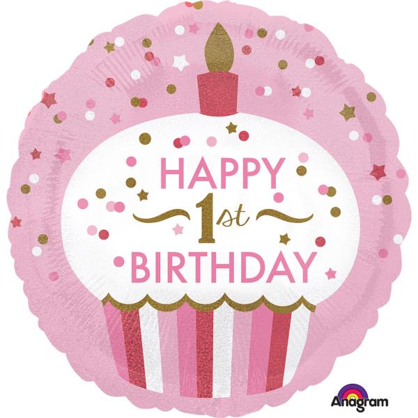 Folieballon 1st birthday cupcake girl