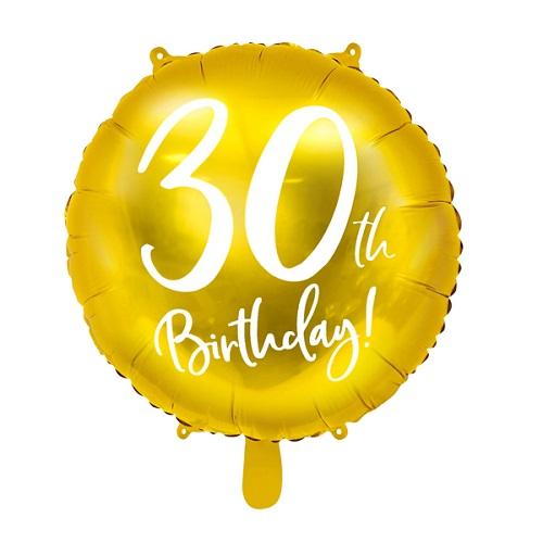Folieballon 30 jaar goud 45cm