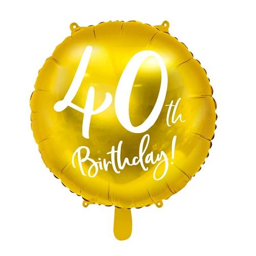Folieballon 40 jaar goud 45cm