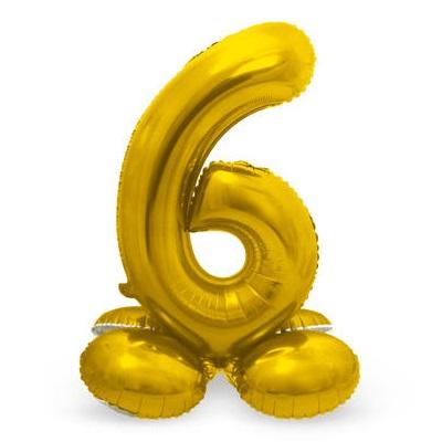 Folieballon 6 met voetje goud