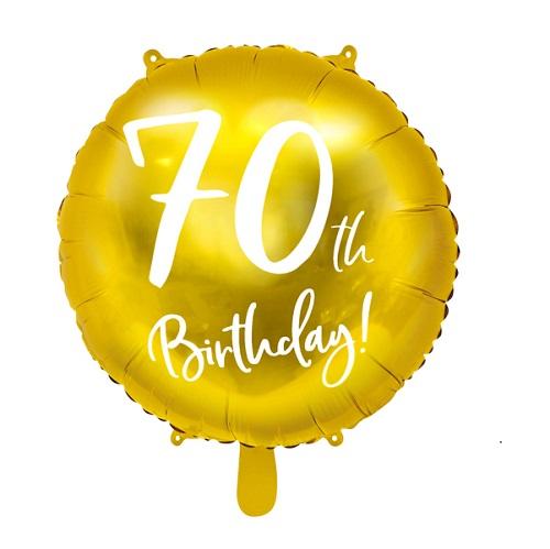 Folieballon 70 jaar goud 45cm