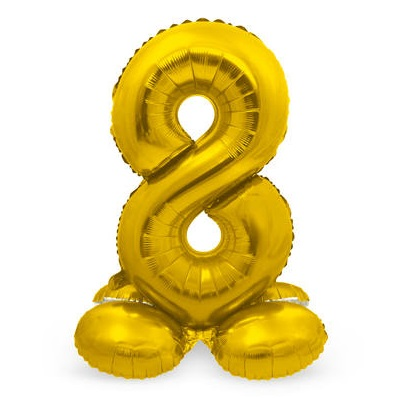 Folieballon 8 met voetje goud
