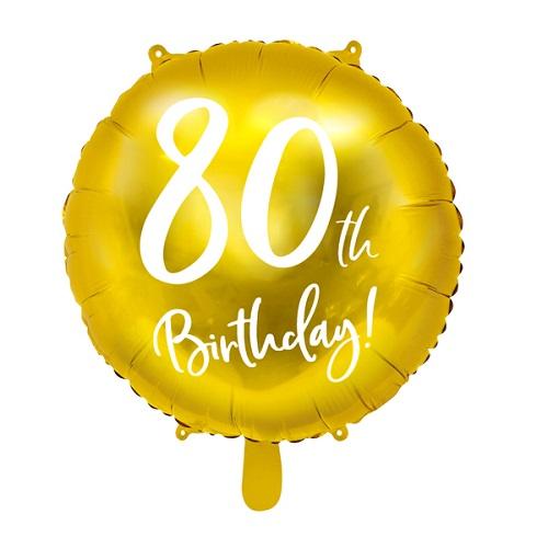 Folieballon 80 jaar goud 45cm