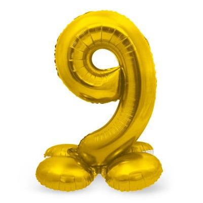 Folieballon 9 met voetje goud