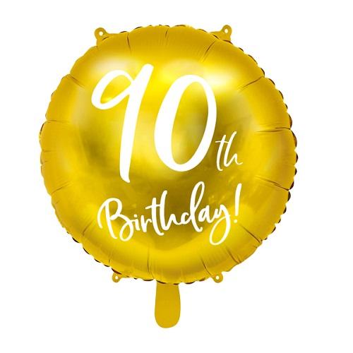 Folieballon 90 jaar goud 45cm