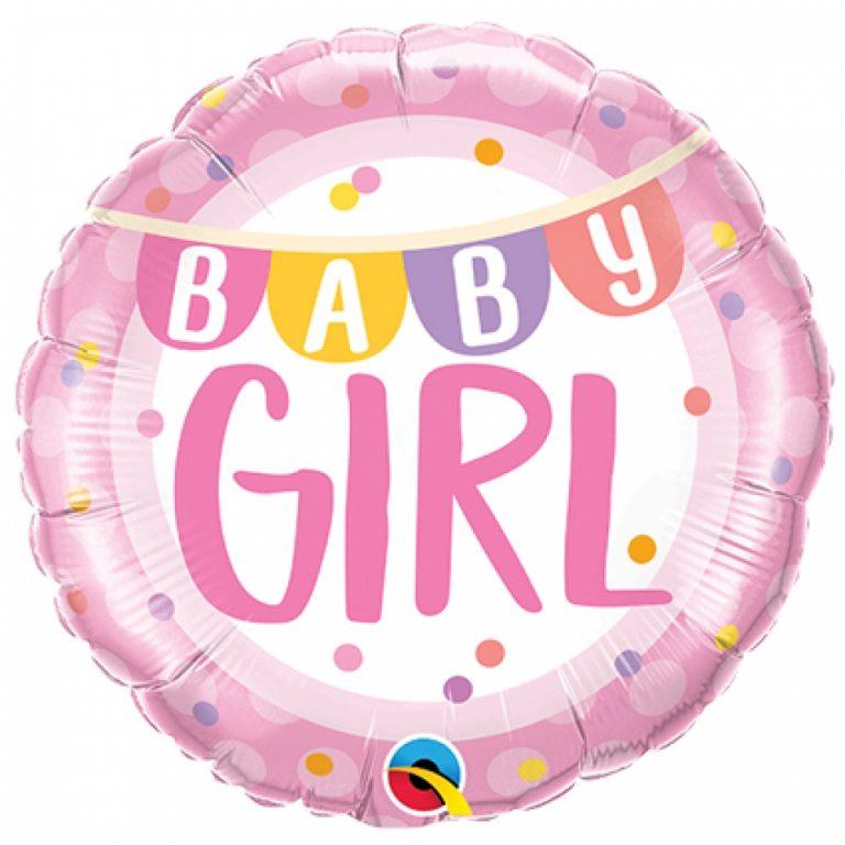 Folieballon baby girl banner 46cm