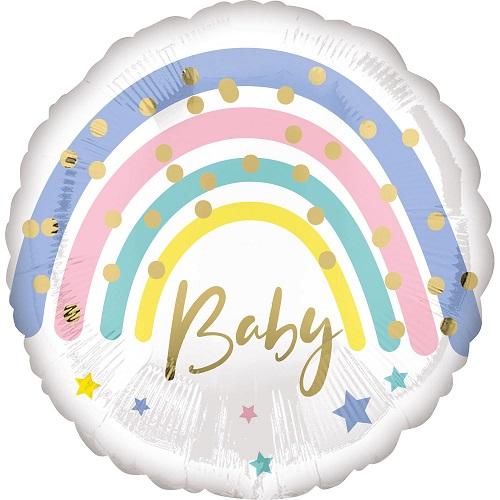 Folieballon baby pastel regenboog