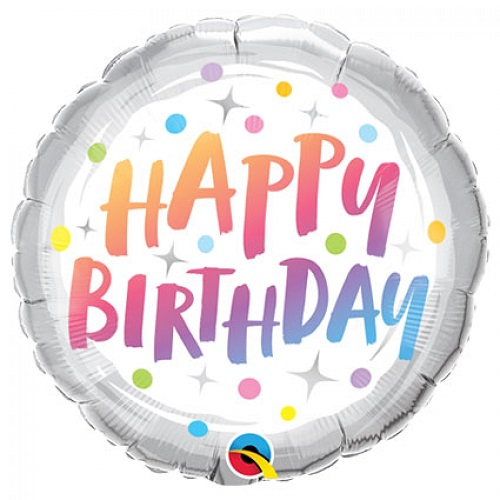 Folieballon Birthday rainbow dots 46cm