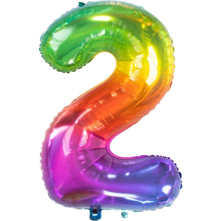 Folieballon cijfer 2 regenboog 86cm