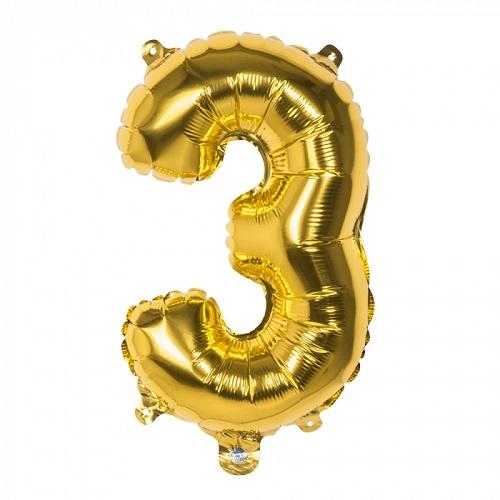 Folieballon cijfer 3 goud 66cm