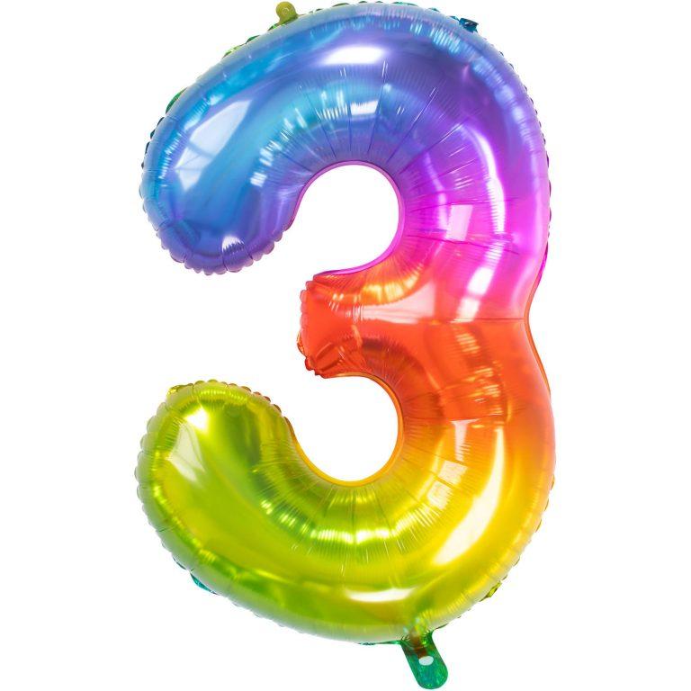 Folieballon cijfer 3 regenboog 86cm