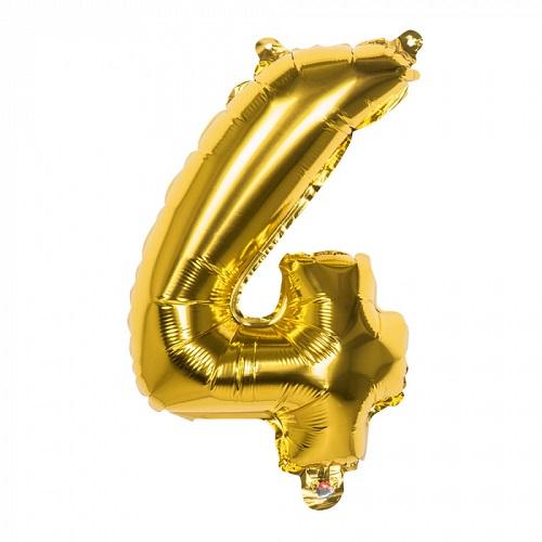 Folieballon cijfer 4 goud 66cm