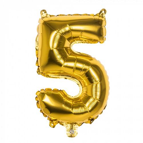 Folieballon cijfer 5 goud 66cm