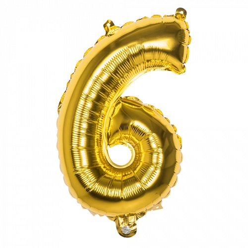 Folieballon cijfer 6 goud 66cm