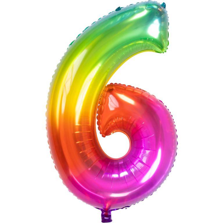 Folieballon cijfer 6 regenboog 86cm