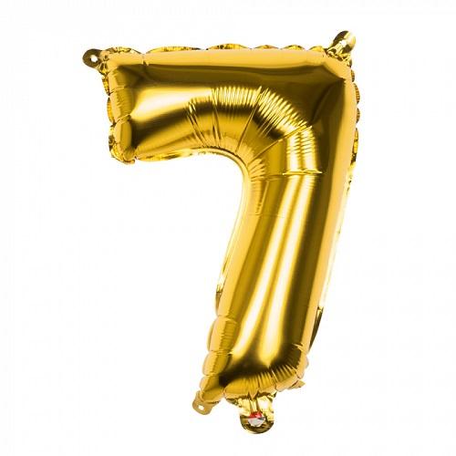 Folieballon cijfer 7 goud 66cm