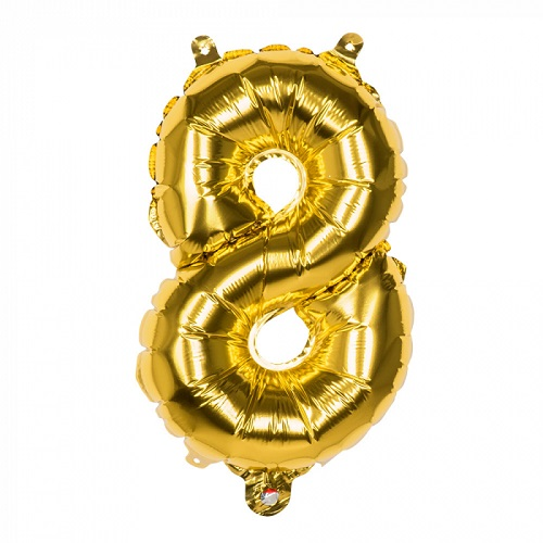 Folieballon cijfer 8 goud 66cm