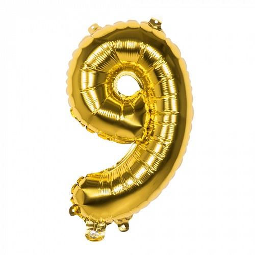 Folieballon cijfer 9 goud 66cm