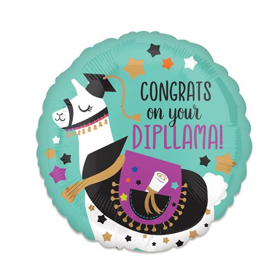 Folieballon Congratz on your Dipllama 43cm
