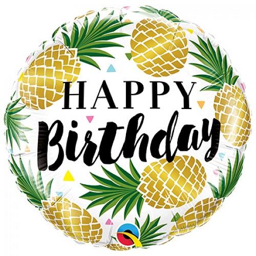 Folieballon happy birthday Ananas