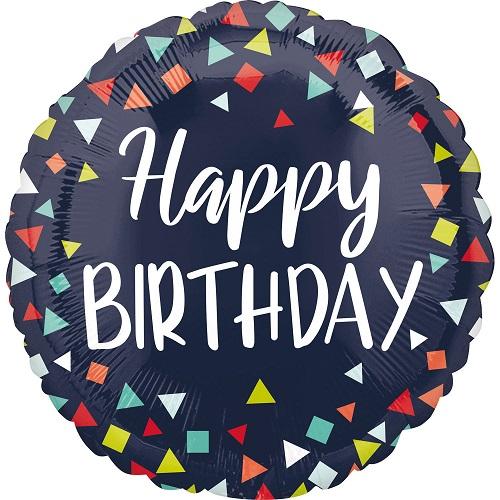 Folieballon Happy birthday donkerblauw 43cm