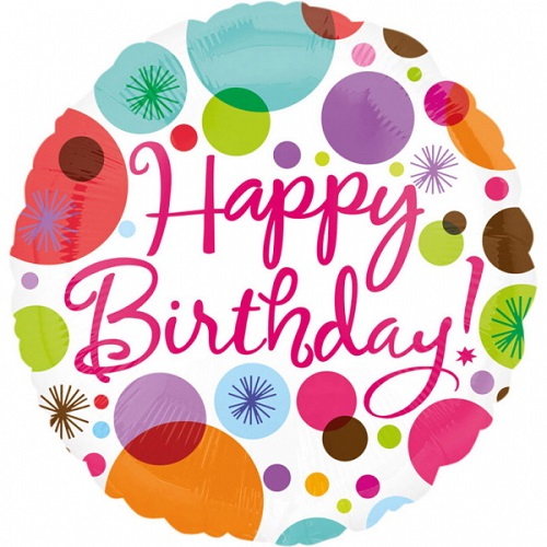 Folieballon happy birthday dots