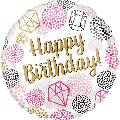 Folieballon Happy Birthday gems 43cm