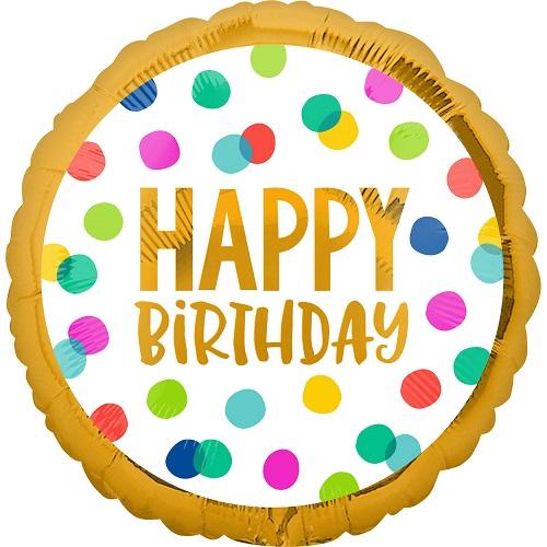 Folieballon happy birthday stippen gouden rand
