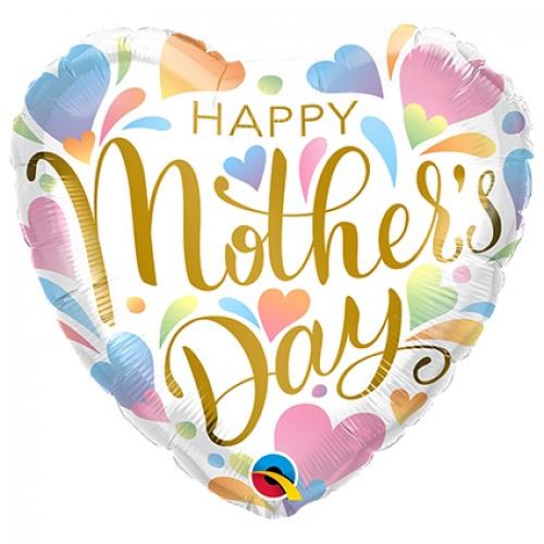 Folieballon Happy mother's day pastel hearts 46cm