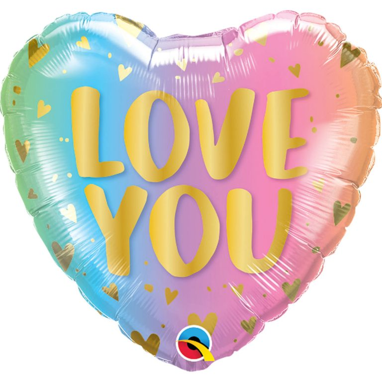 Folieballon hart love you pastel 46cm