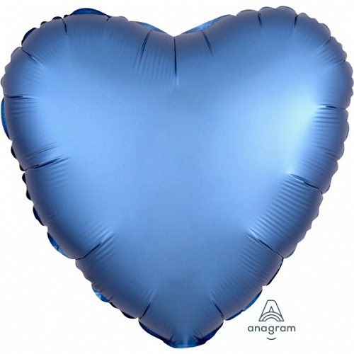 Folieballon hart satin Azuurblauw 43cm