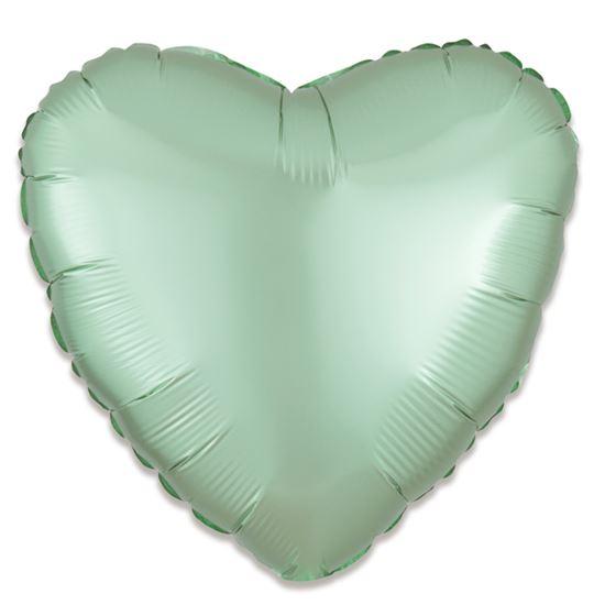 Folieballon hart satin mint groen 43cm