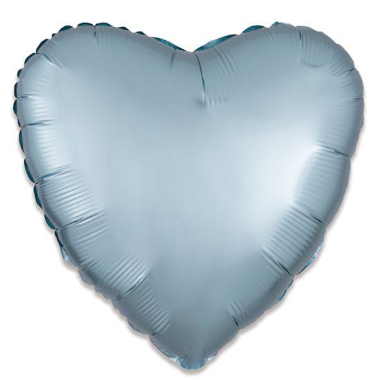 Folieballon hart satin pastel blauw 43cm