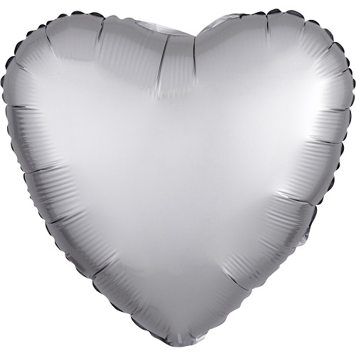 Folieballon hart satin platinum