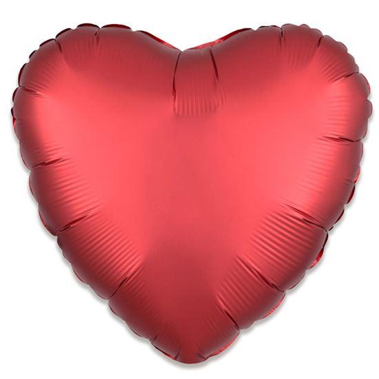 Folieballon hart satin rood 43cm
