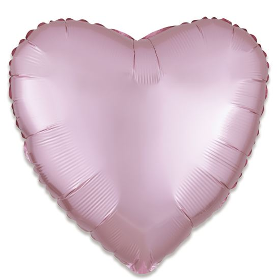 Folieballon hart satin roze pastel 43cm