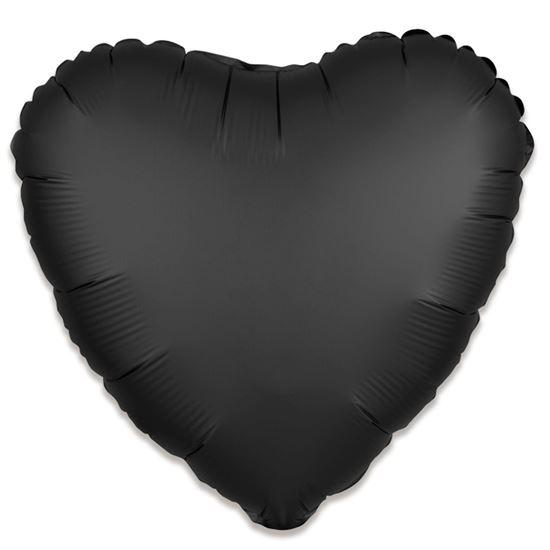 Folieballon hart satin zwart 43cm