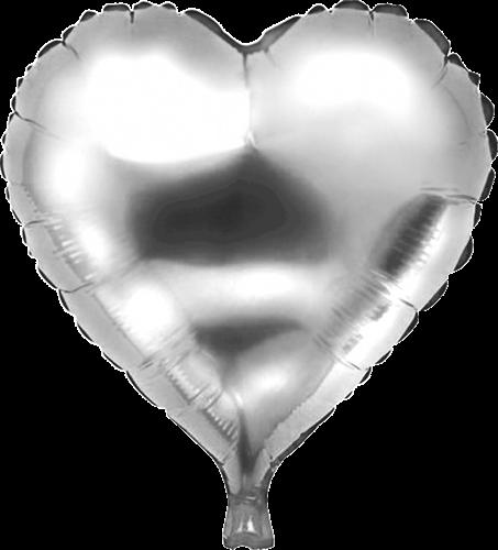 Folieballon hart zilver 45cm