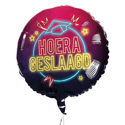 Folieballon Hoera geslaagd neon lights 45cm