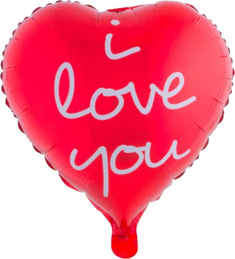 Folieballon I love you rood hart 45cm