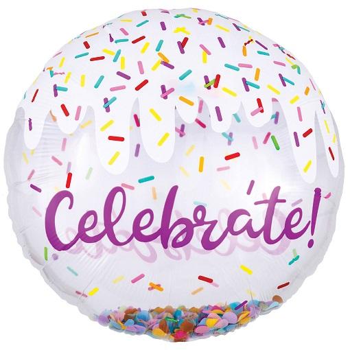 Folieballon jumbo confetti Celebrate 71cm