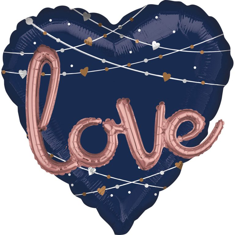 Folieballon love hart navy 3d