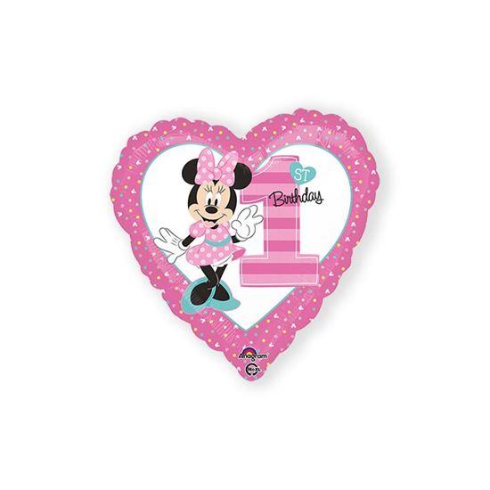 Folieballon Minnie 1ste birthday